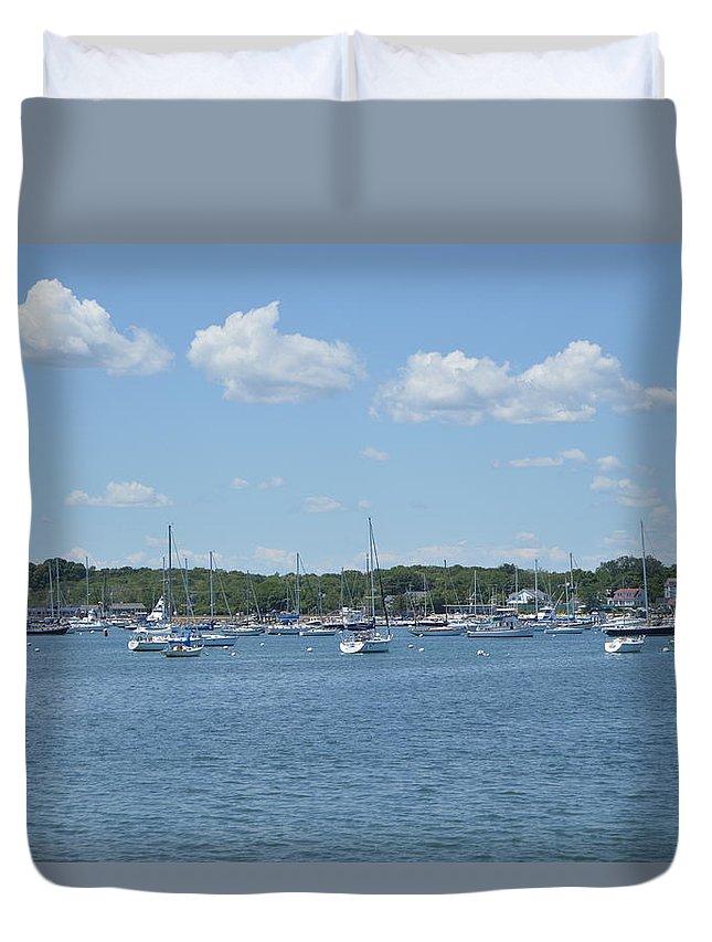 Landscape Duvet Cover featuring the digital art Harbor View by Danielle Fraser