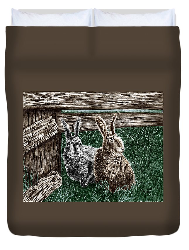 Hare Line Duvet Cover featuring the drawing Hare Line by Peter Piatt