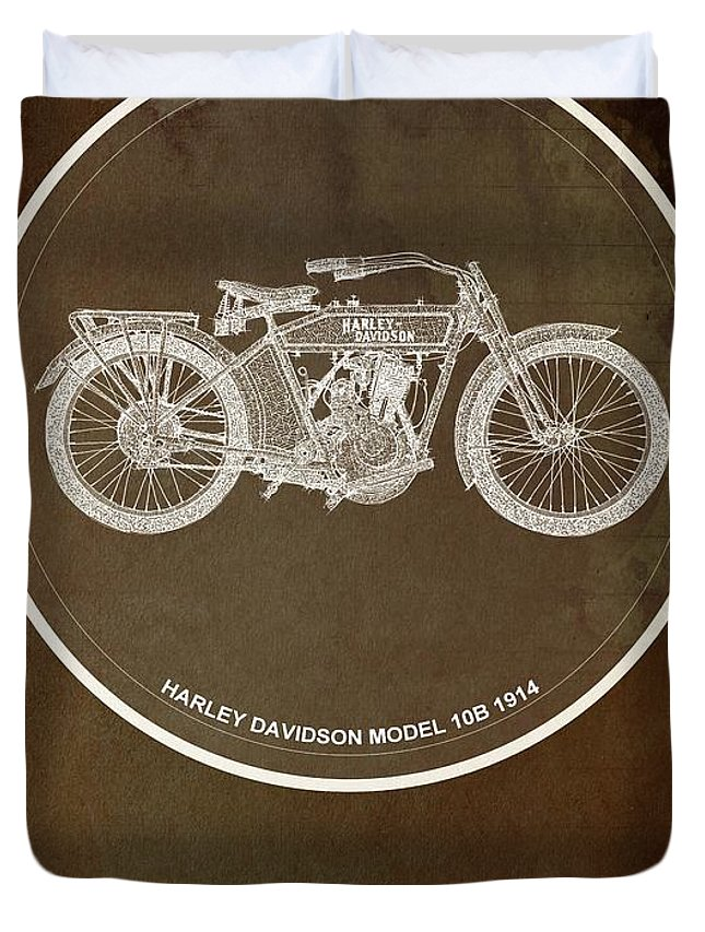 Yamaha Duvet Cover featuring the digital art Harley Davidson Model 10b 1914 For Some There's Therapy, For The Rest Of Us There's Motorcycles by Drawspots Illustrations