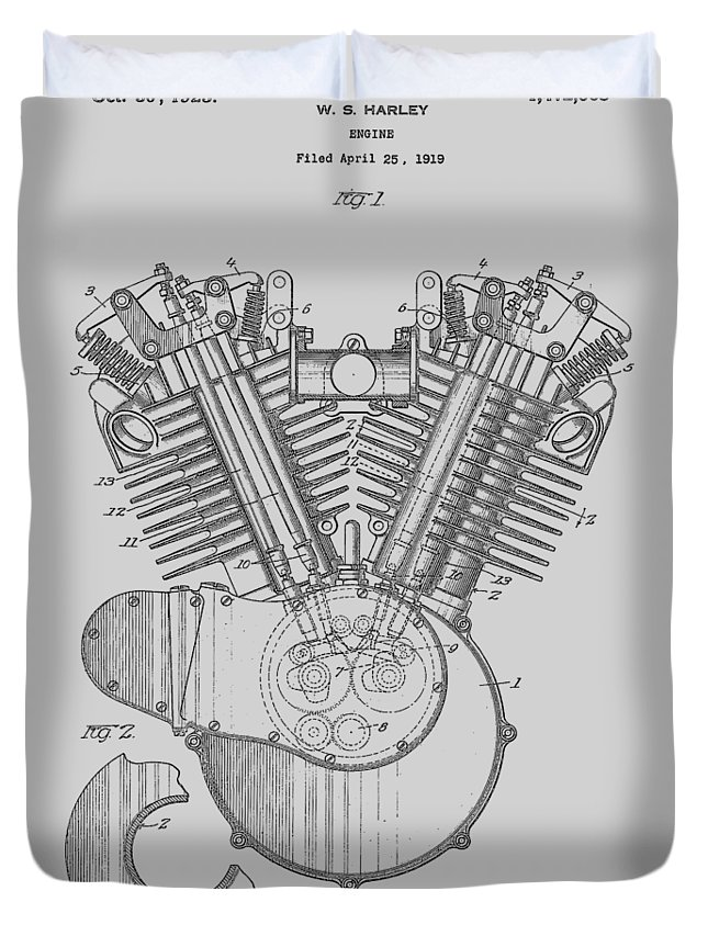 Harley Duvet Cover featuring the photograph Harley Engine Patent From 1919 by Chris Smith