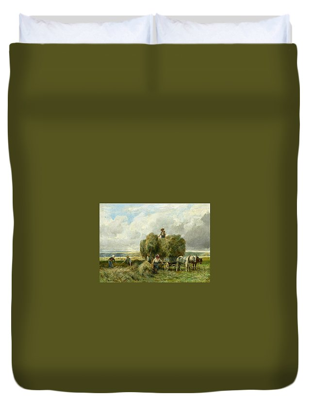 Julien Dupré - Haymaking Duvet Cover featuring the painting Haymaking by MotionAge Designs