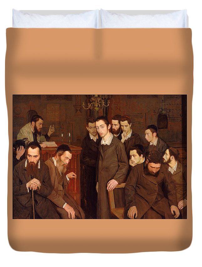 Maurycy Minkowski Duvet Cover featuring the painting He Cast A Look And Went Mad by Maurycy Minkowski