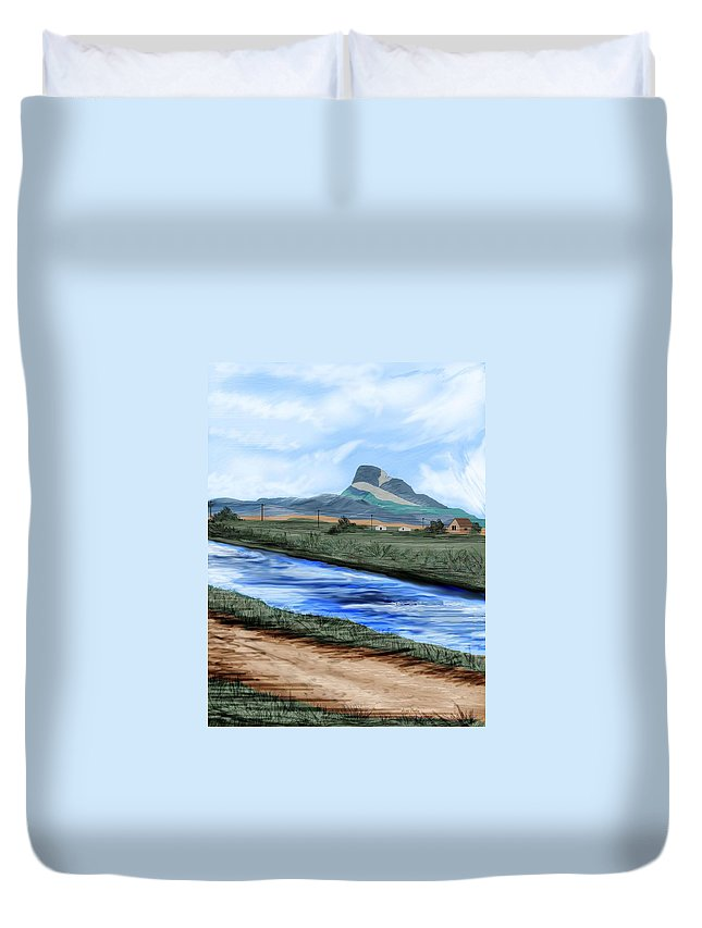 Heart Mountain Duvet Cover featuring the painting Heart Mountain And The Canal by Anne Norskog