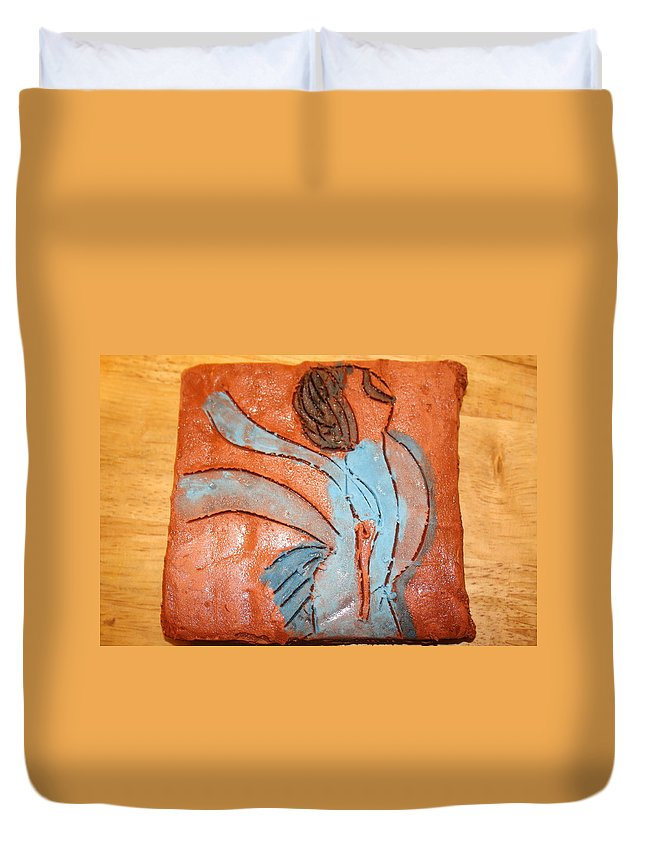Jesus Duvet Cover featuring the ceramic art Heartfelt - Tile by Gloria Ssali