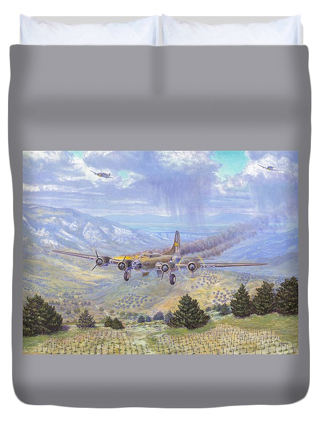 99th Bomb Group Duvet Cover featuring the painting Her Majestys Last Landing by Scott Robertson