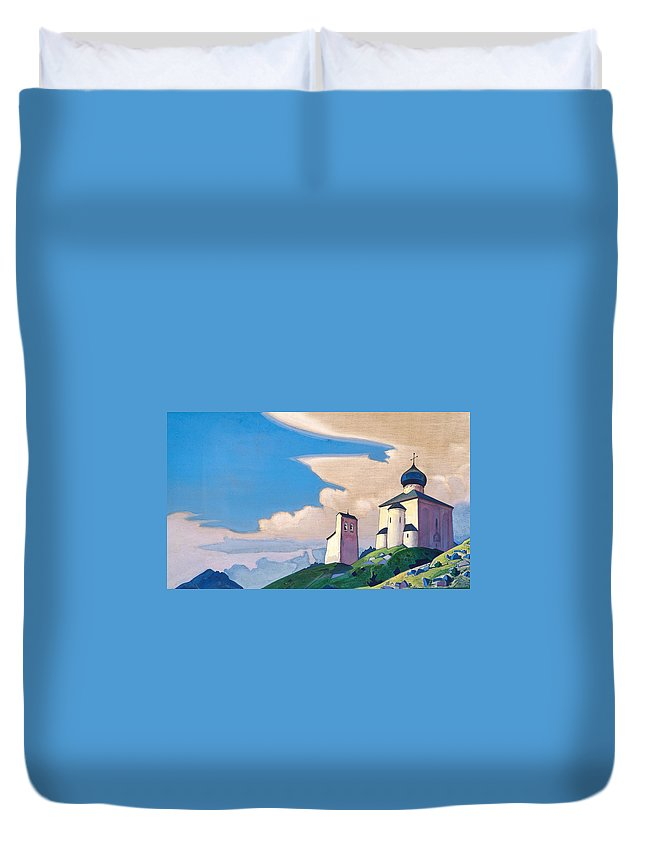 Architectural Duvet Cover featuring the painting Hermitage Of St. Sergius by Nicholas Roerich