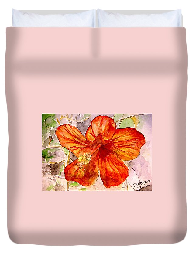 Hibiscus Duvet Cover featuring the painting Hibiscus 2 by Derek Mccrea