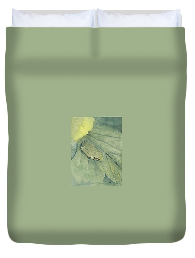 Frog Duvet Cover featuring the painting Hidden by Mary Tuomi