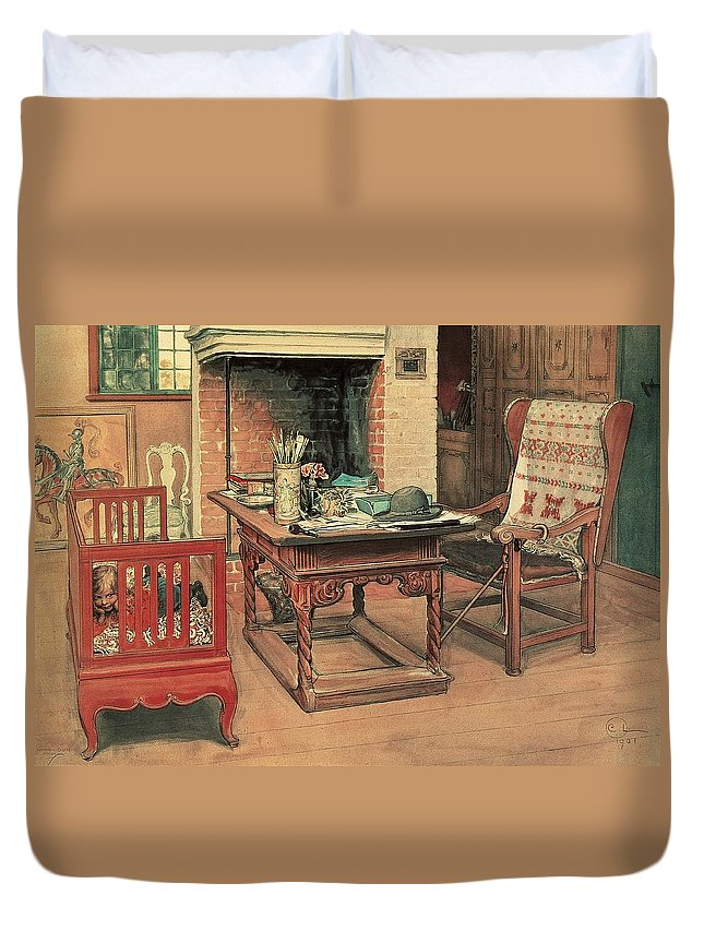 Oil Duvet Cover featuring the painting Hide And Seek by Carl Larsson