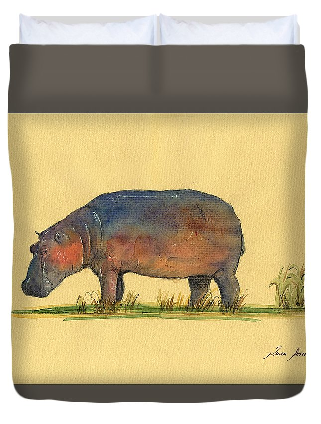 Hippo Duvet Cover featuring the painting Hippo Watercolor Painting by Juan Bosco