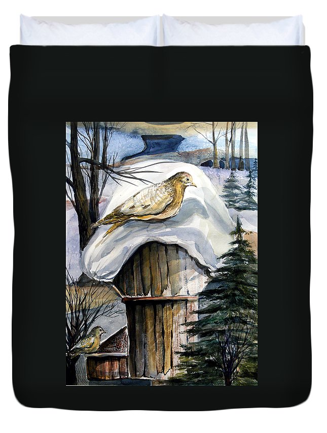 Bird Duvet Cover featuring the painting His Eye Is On The Sparrow by Mindy Newman
