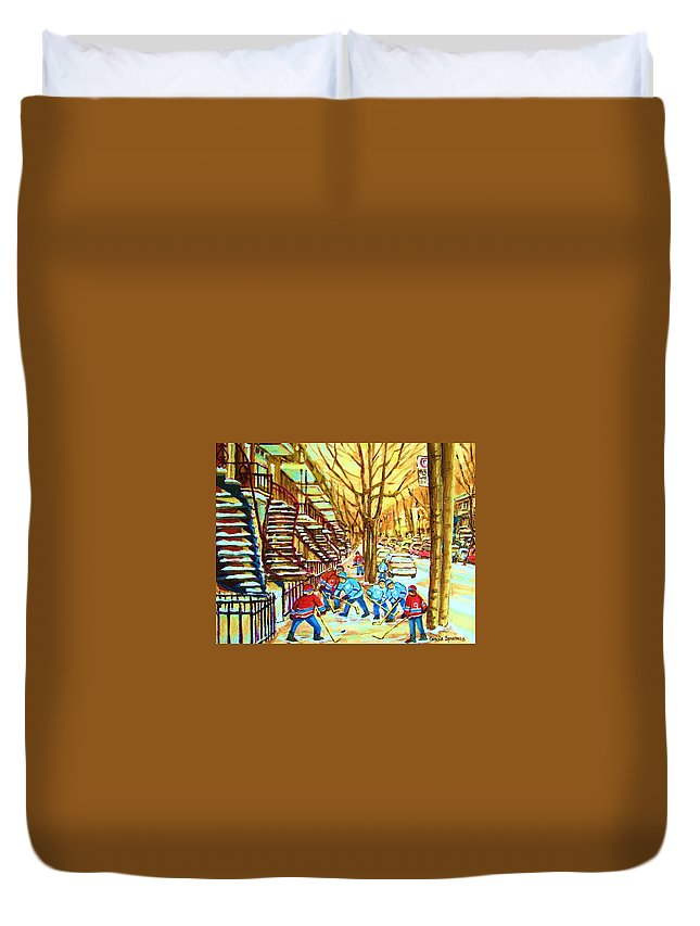 Montreal Duvet Cover featuring the painting Hockey Game Near Winding Staircases by Carole Spandau