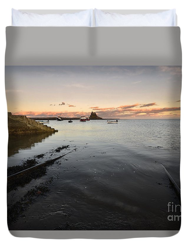Holy Island Duvet Cover featuring the photograph Holy Island Of Lindisfarne by Smart Aviation