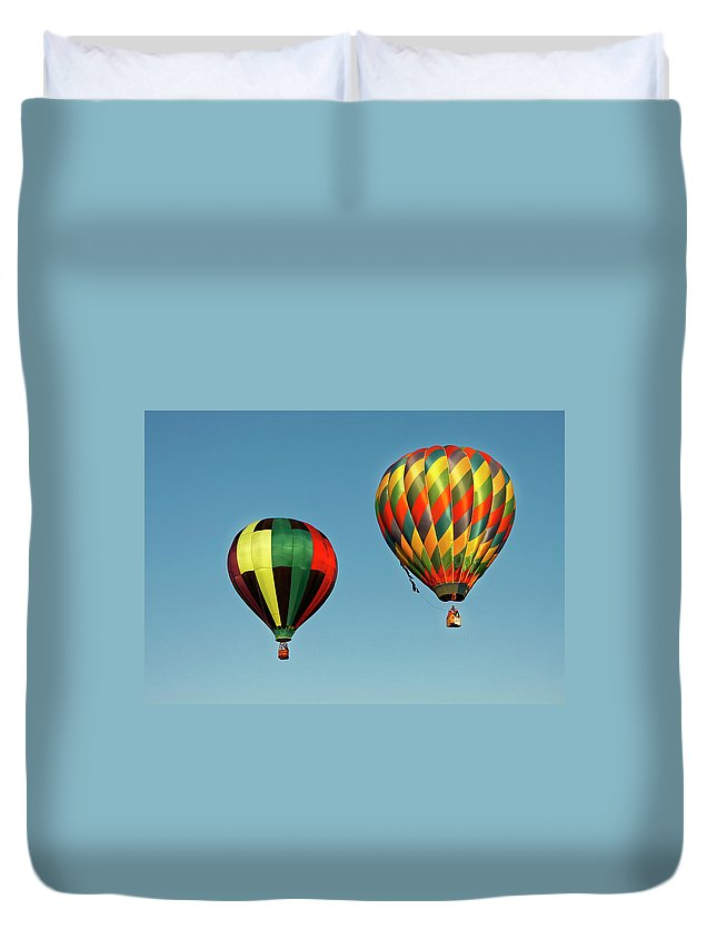 Balloons Duvet Cover featuring the photograph Hot Air Balloons by Robert Urwyler