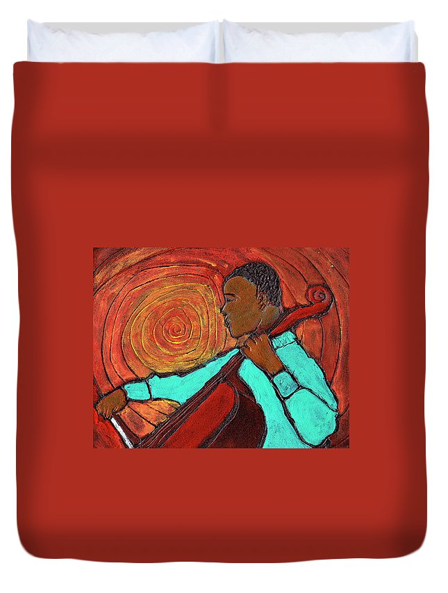 Jazz Duvet Cover featuring the painting Hot Jazz by Wayne Potrafka