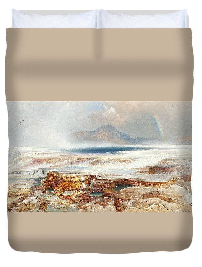 Thomas Moran Duvet Cover featuring the painting Hot Springs Of The Yellowstone by Thomas Moran