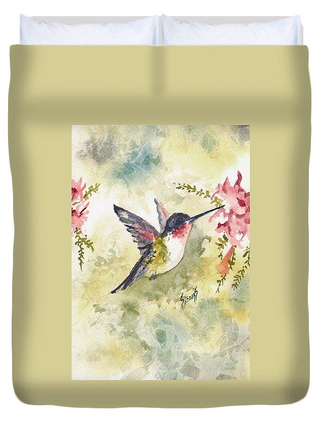 Hummingbird Duvet Cover featuring the painting Hummingbird by Sam Sidders