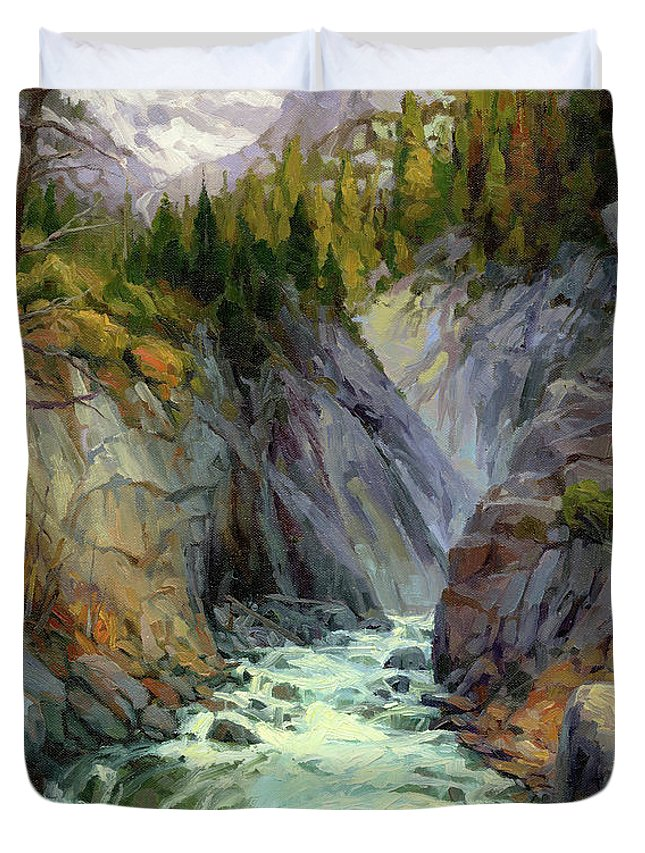 River Duvet Cover featuring the painting Hurricane River by Steve Henderson