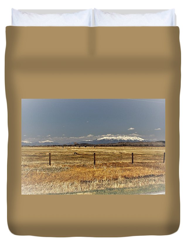 Duvet Cover featuring the photograph hWY 142 leaving Manassa to San Luis by Carla Larson