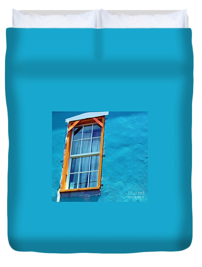 Window Duvet Cover featuring the photograph I Got The Blues by Debbi Granruth