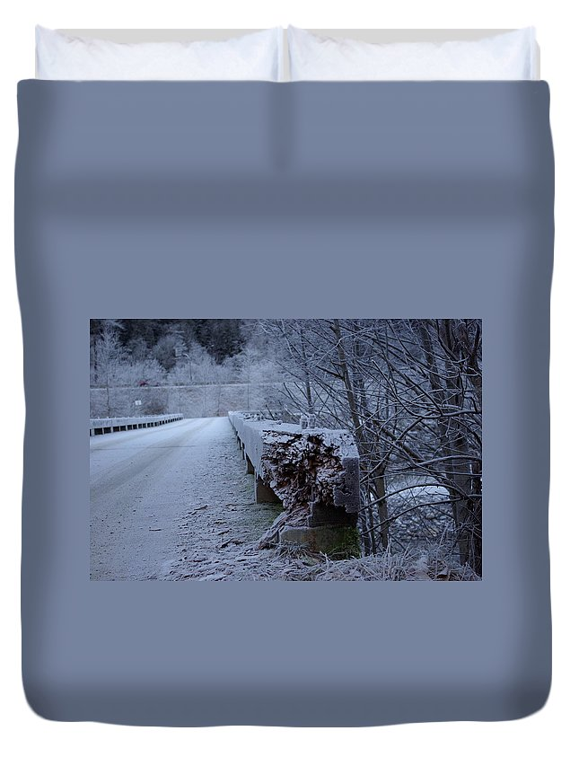 Ice Duvet Cover featuring the photograph Ice Bridge by Cindy Johnston