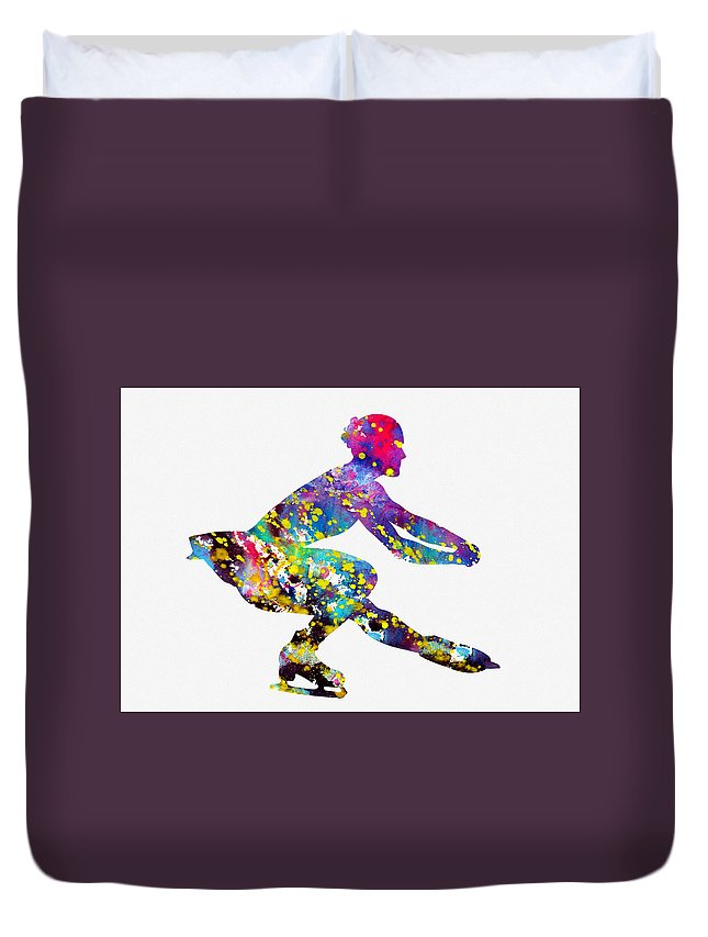 Ice Skater Duvet Cover featuring the digital art Ice Skater-colorful by Erzebet S