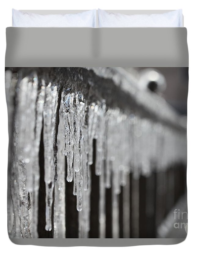 Icicles Duvet Cover featuring the photograph Icicles At Attention by Nadine Rippelmeyer