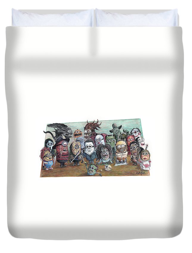 Horror Duvet Cover featuring the drawing If Minions Were Horror Movie Villians by Serafin Ureno