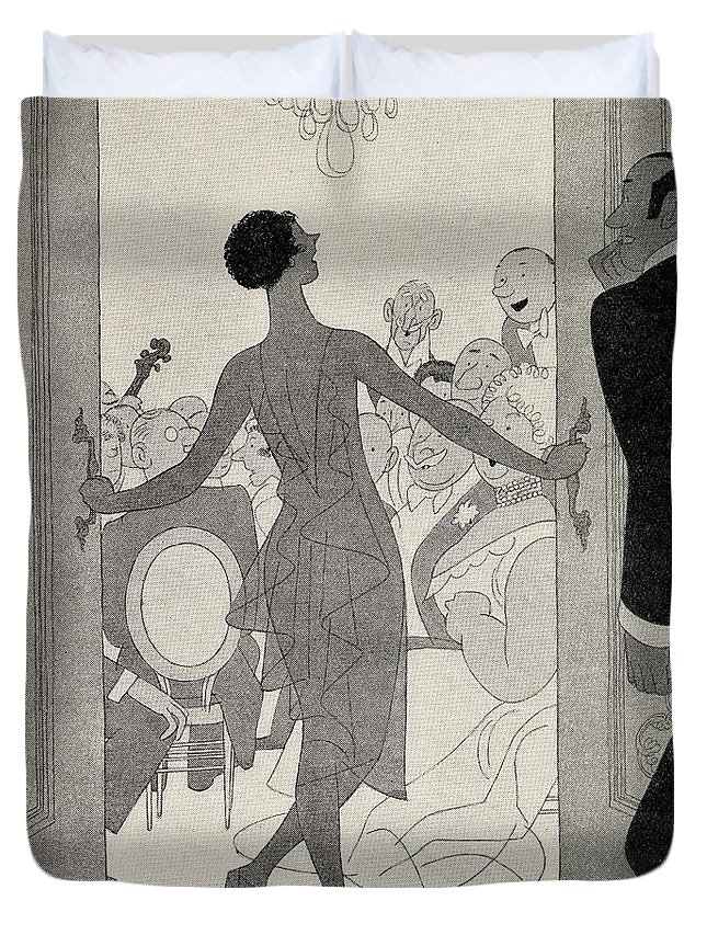 Barton Duvet Cover featuring the drawing Illustration By Ralph Barton 1891 To by Vintage Design Pics