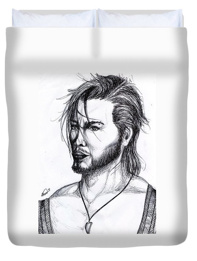 Imaginative Duvet Cover featuring the drawing Imaginative Portrait Drawing by Alban Dizdari