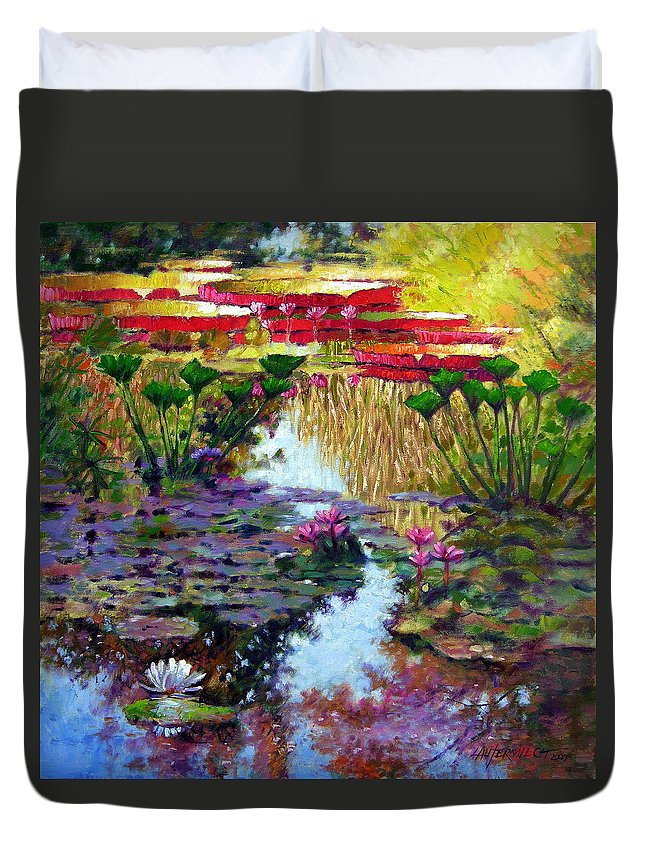 Garden Pond Duvet Cover featuring the painting Impressions Of Summer Colors by John Lautermilch
