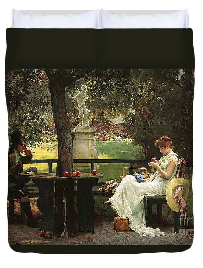 In Love (oil On Canvas) By In Love (oil On Canvas) By Marcus Stone (1840-1921) Duvet Cover featuring the painting In Love by Marcus Stone