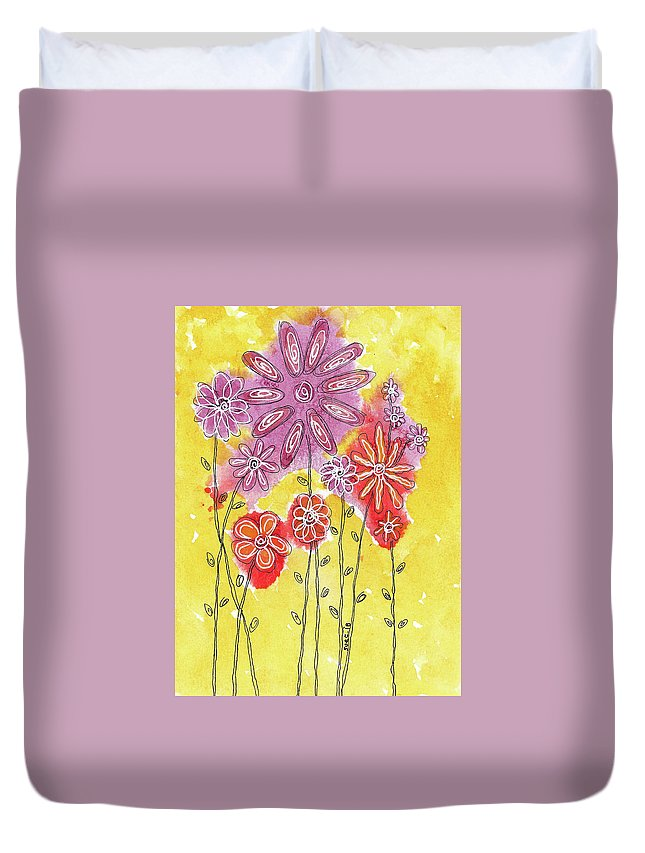 Watercolor And Ink Duvet Cover featuring the painting In The Garden 1 by Susan Campbell