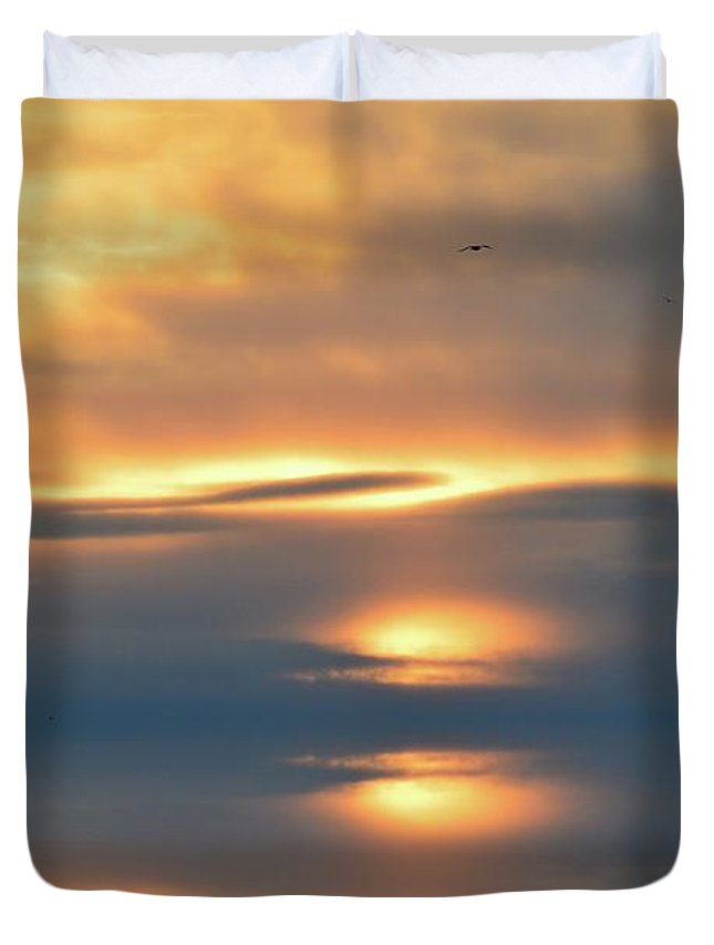 Abstract Duvet Cover featuring the digital art In The Sky by Lyle Crump