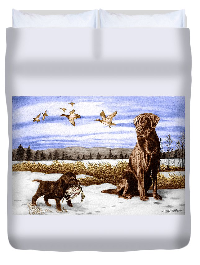 In Training Duvet Cover featuring the drawing In Training by Peter Piatt