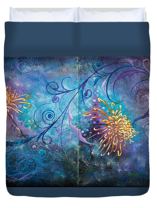 Flowers Duvet Cover featuring the painting Infinity Of Wonders by Olga Smith