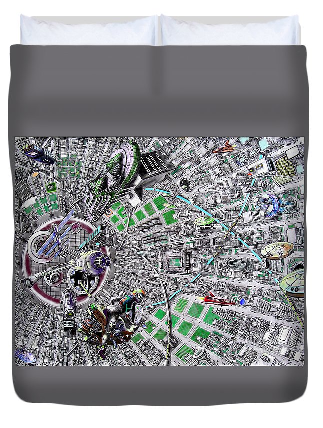 Landscape Duvet Cover featuring the drawing Inside Orbital City by Murphy Elliott