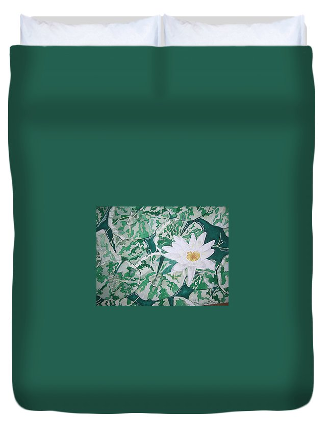Lily And Leaves Duvet Cover featuring the painting Inspiration by John Wilson