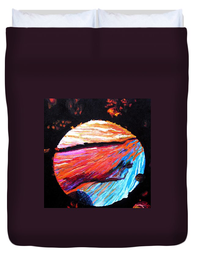 Abstract Duvet Cover featuring the painting Inspire Three by Stan Hamilton