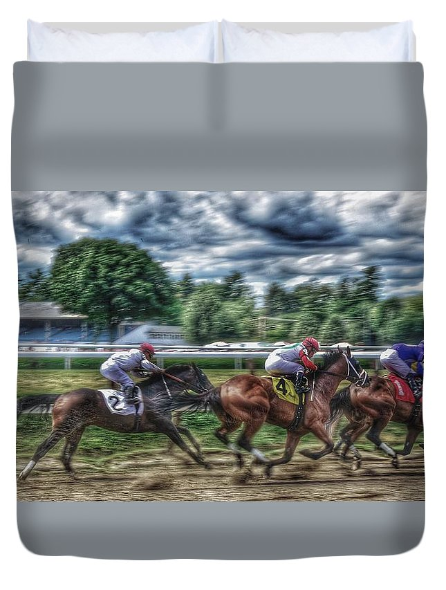 Race Horses Duvet Cover featuring the photograph Intensity by Jeffrey PERKINS
