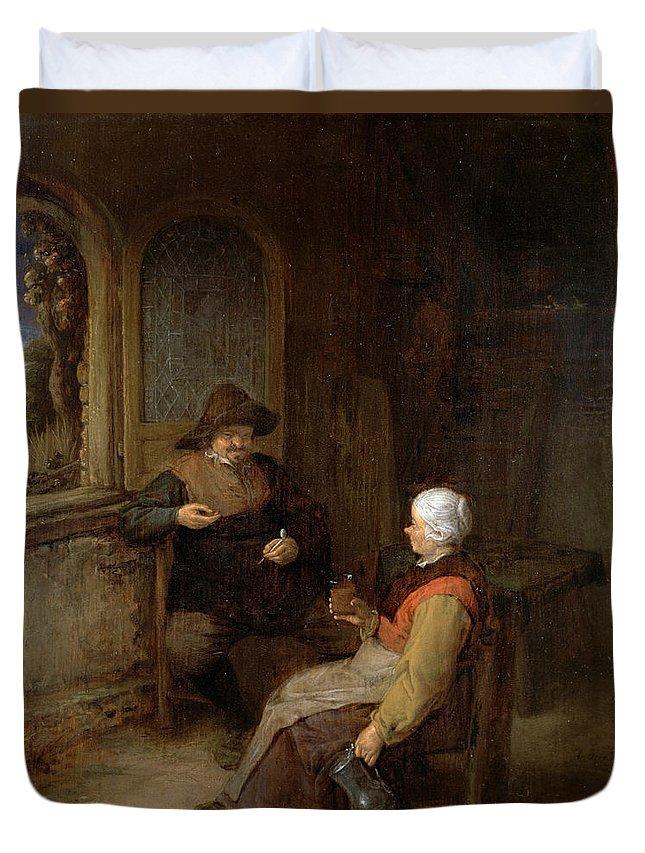 Adriaen Jansz Hendricx Duvet Cover featuring the painting Interior Of A Cottage by Adriaen van Ostade