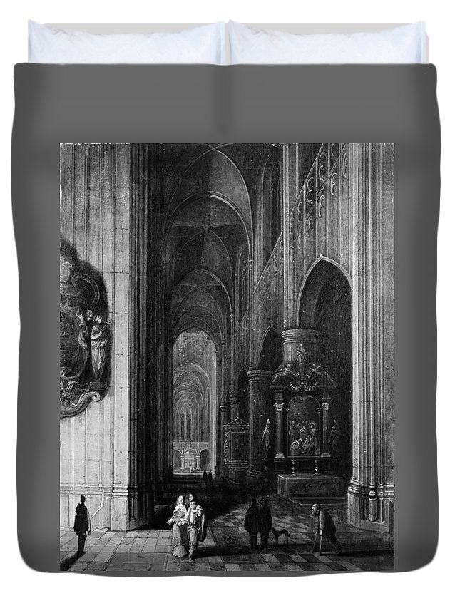 Pieter Neeffs The Younger Interior Of A Gothic Church At Night Duvet Cover featuring the painting Interior Of A Gothic Church At Night by Pieter Neeffs the Younger