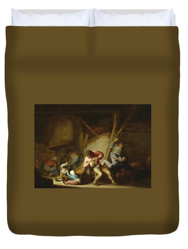 Adriaen Jansz Hendricx Duvet Cover featuring the painting Interior With Drinking Figures And Crying Children by Adriaen van Ostade