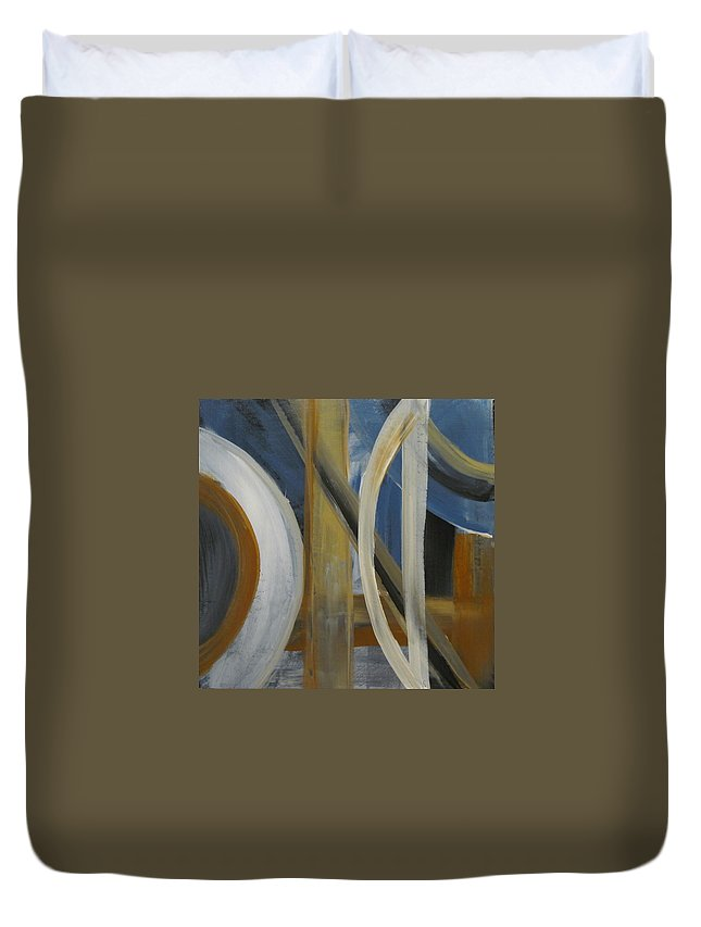 Abstract Duvet Cover featuring the painting Intersection In Blue 1 by Anita Burgermeister
