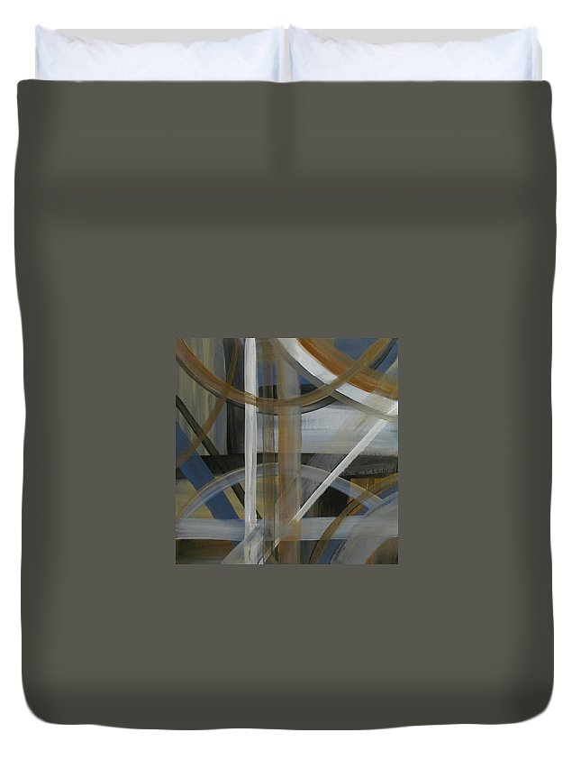 Abstract Duvet Cover featuring the painting Intersection In Blue 4 by Anita Burgermeister