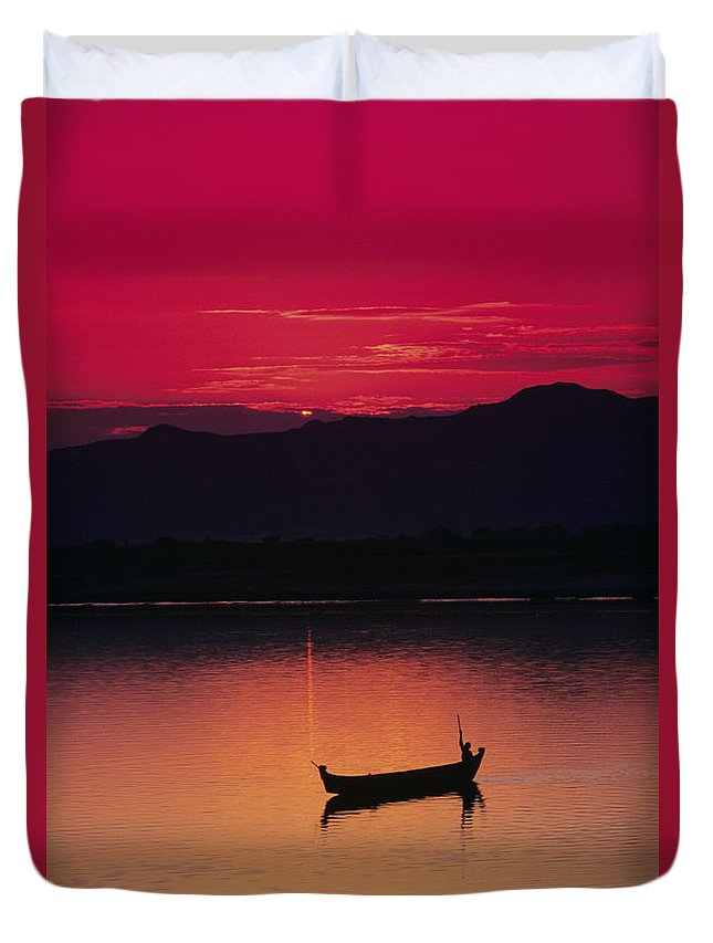 Bagan Duvet Cover featuring the photograph Irrawaddy River by Gloria & Richard Maschmeyer - Printscapes