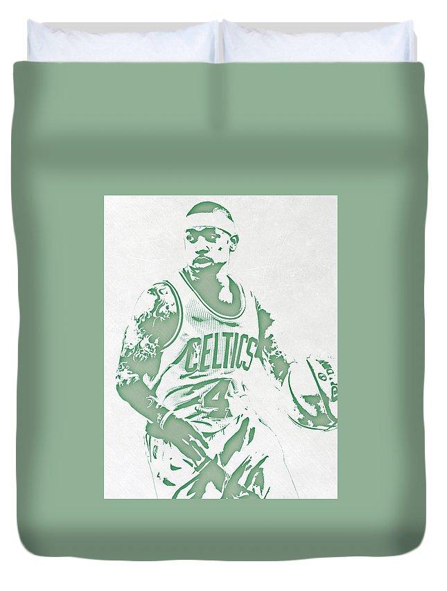 Isaiah Thomas Duvet Cover featuring the mixed media Isaiah Thomas Boston Celtics Pixel Art by Joe Hamilton