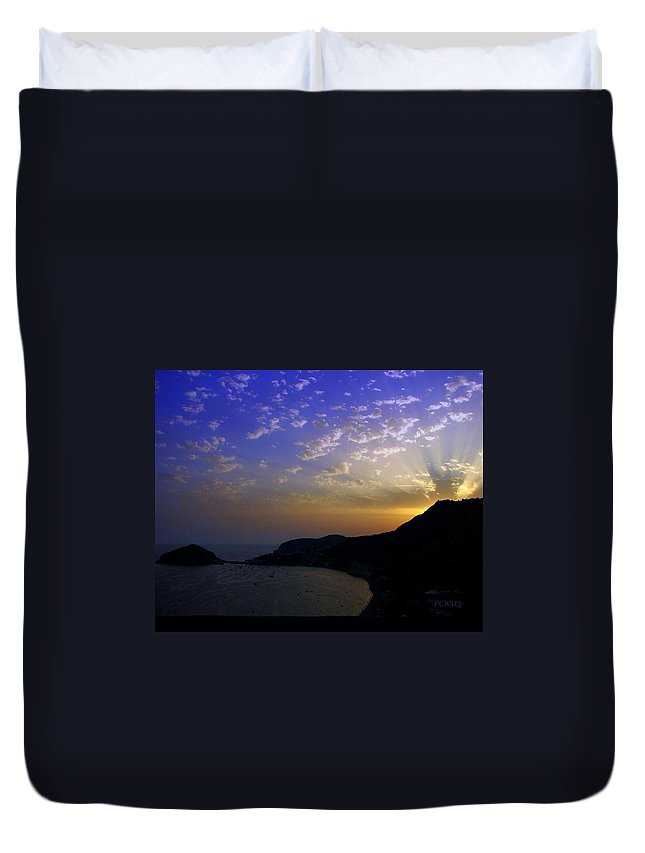 Sunset Duvet Cover featuring the photograph Ischia Awakens by Patrick Witz