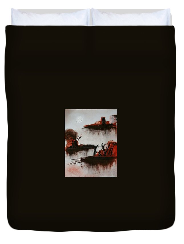 Duvet Cover featuring the painting Islands In The Steam by Vivi Li