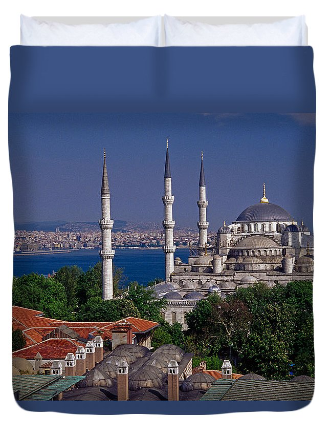 Turkey Duvet Cover featuring the photograph Istanbul's Blue Mosque by Michele Burgess